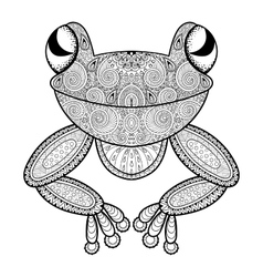 Zentangle frog for adult anti stress vector