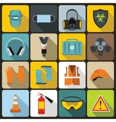 Safety icons set flat style vector