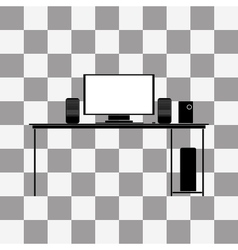 Black icon of desk vector