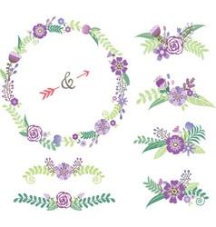 Wedding floral elements vector
