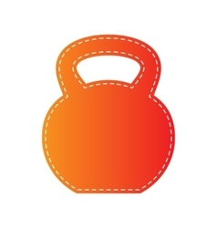 Fitness dumbbell sign orange applique isolated vector