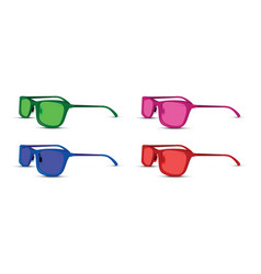 a colored glasses set on white background vector image vector image