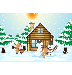 a house snowmen and reindeers vector image vector image