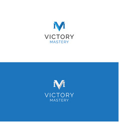 Abstract v and m letters minimalistic logo vector
