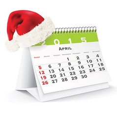 April 2015 desk calendar with christmas hat vector