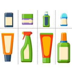Bath plastic bottle shampoo container shower flat vector