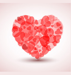 big heart made from smaller hearts vector image vector image