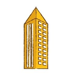 Color building with pointed top icon vector