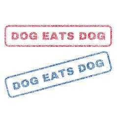 Dog eats dog textile stamps vector