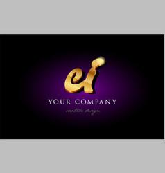 Ei e i 3d gold golden alphabet letter metal logo vector