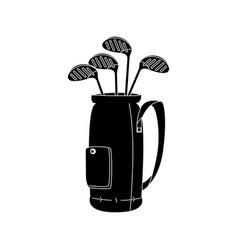 Golf clubs bag isolated icon vector
