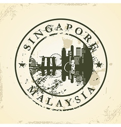 Grunge rubber stamp with Singapore Malaysia vector image vector image