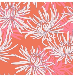 Hand drawn seamless pattern with chrysanthemum vector