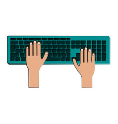 hands typing on computer keyboard icon image vector image