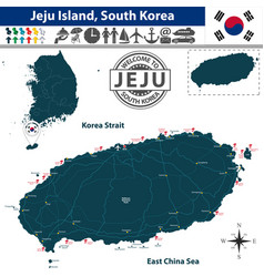 Map of jeju island south korea vector