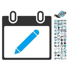 Pencil Calendar Page Flat Icon With Bonus vector image