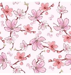 Pink cherry sakura flowers seamless pattern vector