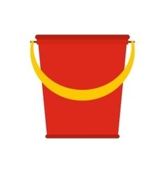 Red plastic bucket flat vector image