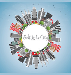 Salt lake city skyline with gray buildings blue vector