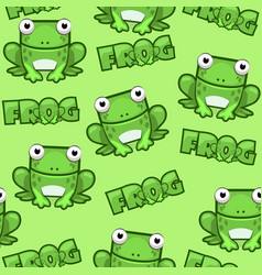 Seamless pattern cute cartoon square frog on green vector