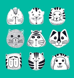 Set of cute doodle cats character sketch cat vector