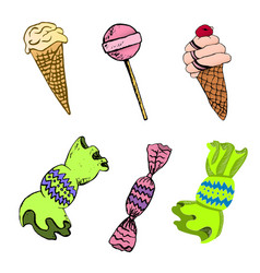 set of sweets drawing by vector image