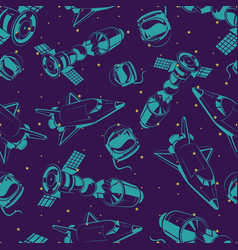 Space seamless pattern with shuttle international vector