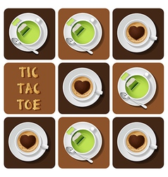 Tic-tac-toe of green tea and cappuccino vector