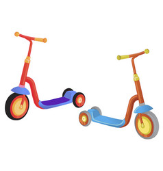 Two cute color kick scooter push scooter isolated vector