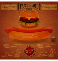 vintage fast food menu - the food on crumpled pape vector image vector image
