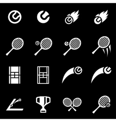 white tennis icon set vector image