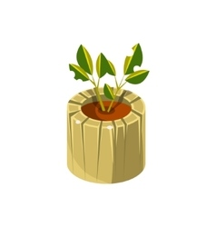 Wooden pot for plant isometric garden landscaping vector