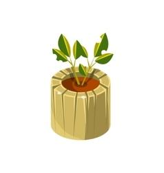 Wooden pot for plant isometric garden landscaping vector