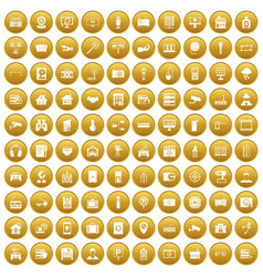 100 camera icons set gold vector