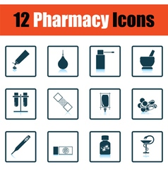 Set of twelve pharmacy icons vector
