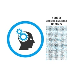 Intellect gears rounded icon with 1000 bonus icons vector