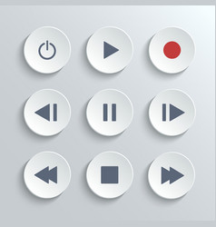 Media player control round button ui icon set vector