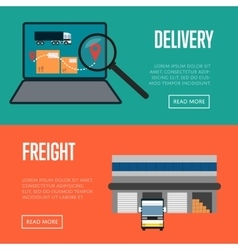 Delivery and freight shipment banners set vector