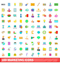 100 marketing icons set cartoon style vector image