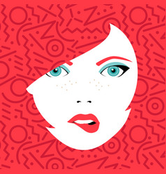 Young sexy woman face with fashion make up vector