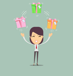 joyful woman holding a lot of boxes with gifts vector image