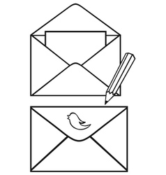 Open envelope with paper and pencil vector image
