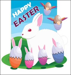 Easter egg bunnies and bird vector