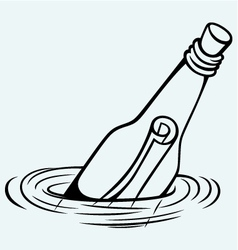 Bottle with a message in water vector