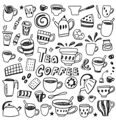 coffee and tea cups - doodles set vector image