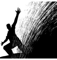 man sliding vector image