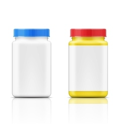 Colored square plastic bottle for pills vector