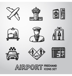 Set of handdrawn airport icons - airplane airport vector