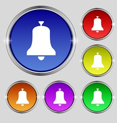 Alarm bell icon sign round symbol on bright vector