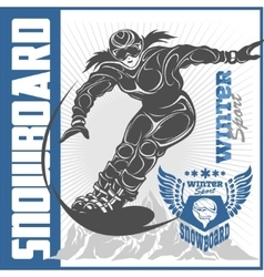Snowboarding emblem labels and designed elements vector